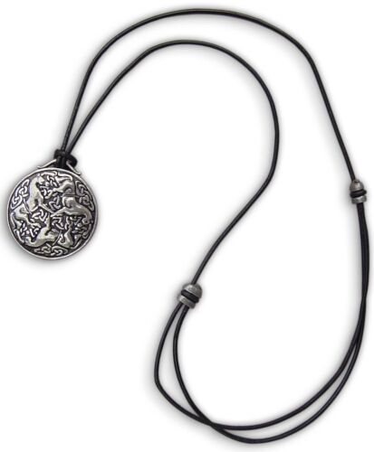 Pewter Celtic Horse Medallion on Adjustable Leather Cord