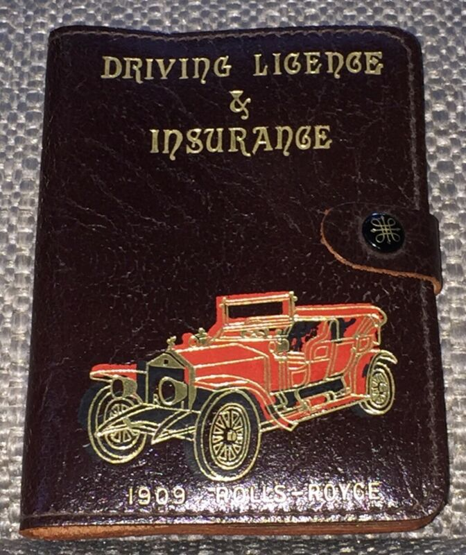 Vintage Rolls-Royce 1909 Driving License & Insurance Leather Case w/snap Closure
