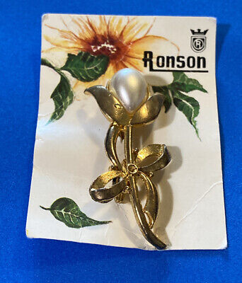"Vintage Ronson Advertisement Brooch Faux Pearl Gold Tone 2"" Safety Pin Clasp"