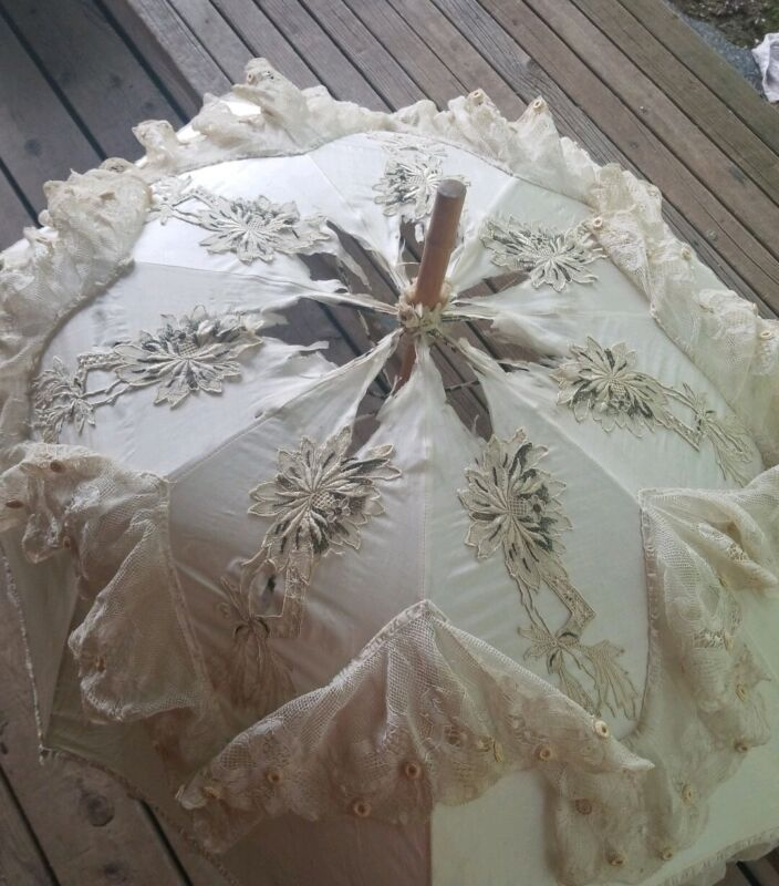 """Vintage parasol umbrella. Old lace and wood/bamboo. Some holes. 36"""" long"""