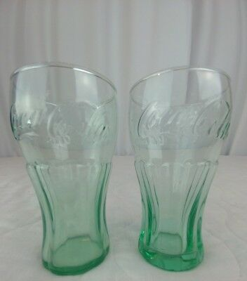 "Coke Coca-Cola Small 4.5"" Green Fountain Glasses Lot of 2 Contour Vintage"