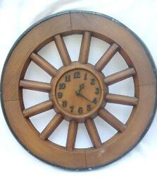 Vintage Wall Clock Cast Iron Wagon Wheel Sexton 1968 Western VERY RARE!!
