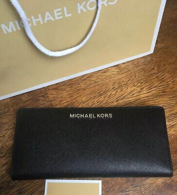 Michael Kors Jet Set Travel Card Case Carryall Purse Black Leather *BNWT*