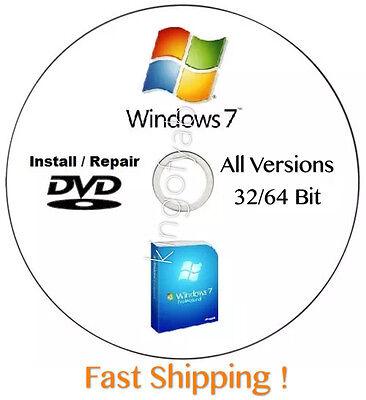 Windows 7  Sp1  32   64 Bit Reinstall Install Dvd Disc All Version W Hd