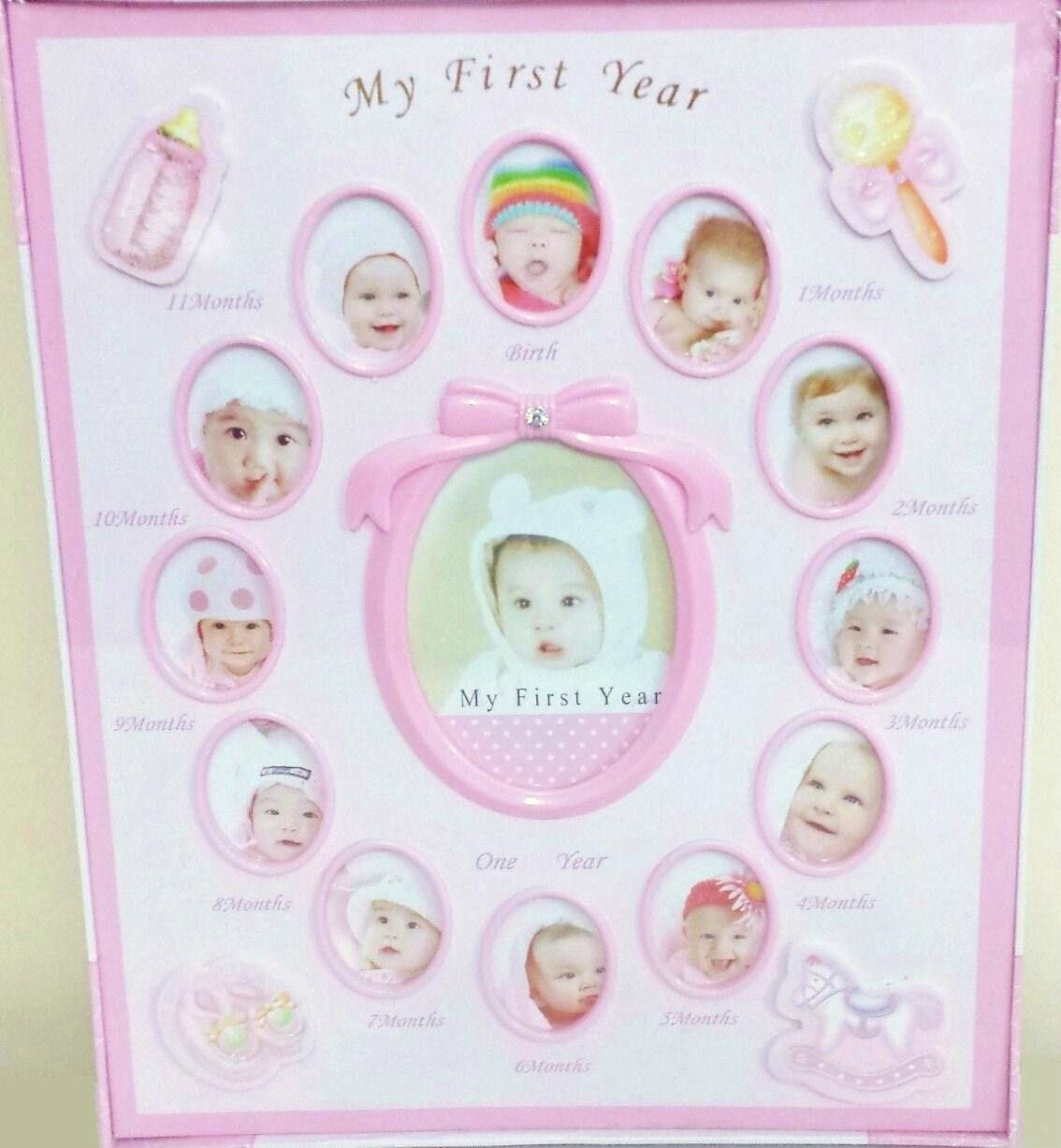 255373ccd0b6d Details about BABY Girl ALBUM 240 PHOTO MY FIRST YEAR Birth 1-12 Moments  Infant NEWBORN Shower