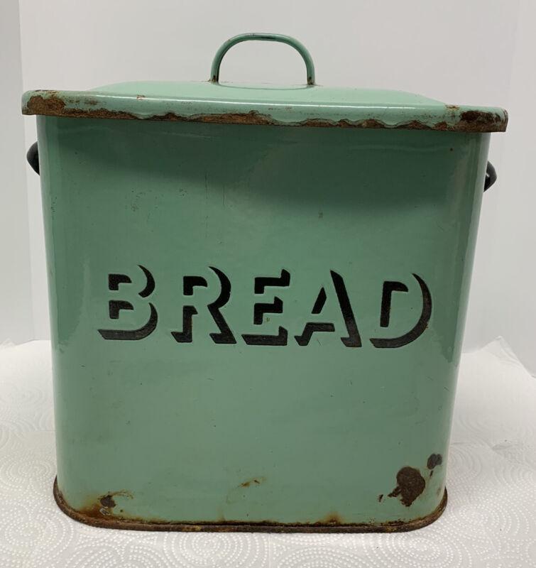 Bread Box Rustic Farmhouse LIght Green Vtg Retro Style Enamel Storage Rare Color