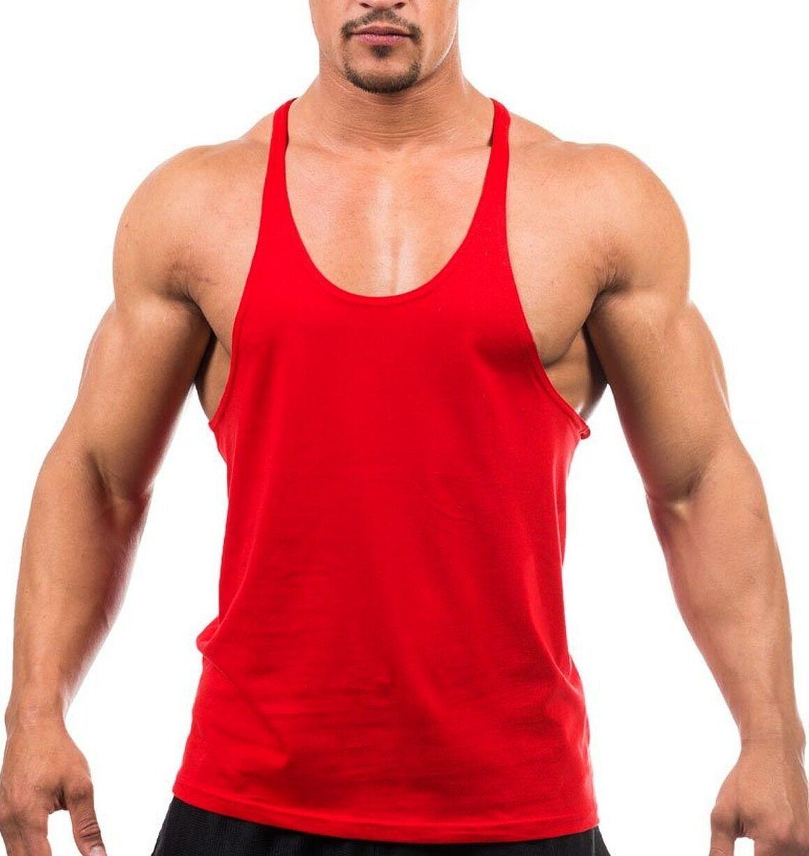 Men Gym Vest Racerback Bodybuilding Plain Tank Top Fitness Woskout Active Wear