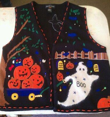 Hampshire studio Halloween Womens sweater black size XL Pumpkins & ghost  - Hampshire Halloween