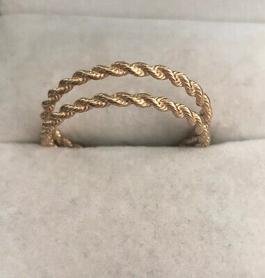 Set Of 14k Classic Twisted Rope Band Stacking Rings, Size 10 (sizable)