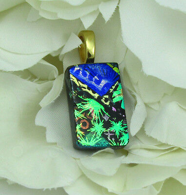 Blue Green Dichroic Glass - Dichroic fused glass pendant layers blue green gold, necklace incl.  p1333 MWeil