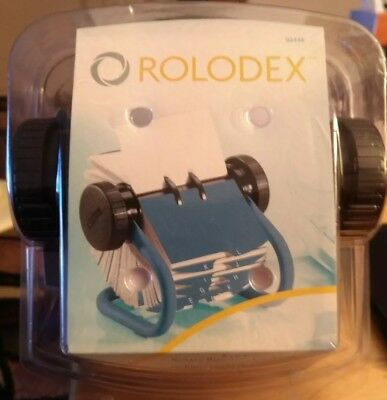 New Rolodex Blue Classic Rotary Business Card File W200 Sleeved Cards