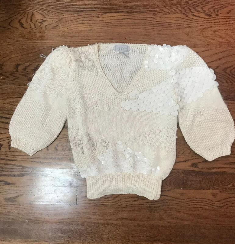 Vintage NANNELL Cream Sweater Pearl Shoulders Puff Sleeves Hand Knit Size S
