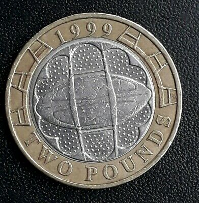 Rugby World Cup 2 pound coin, 1999, circulated