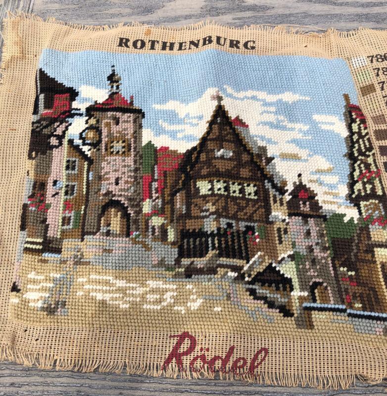"Vintage Handmade Completed Unframed Needlepoint 12""X10"" Rothenburg Rodel Germany"
