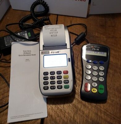 First Data Fd-100ti Credit Card Terminal W Power Adapter Fd-10 Pin Pad