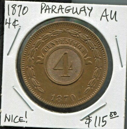 PARAGUAY - FANTASTIC HISTORICAL COPPER 4 CENTESIMOS, 1870, KM# 4.1