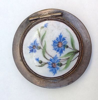 Beautiful Vintage Russia 1950 Porcelain Enamel Compact Power Round Puff Box