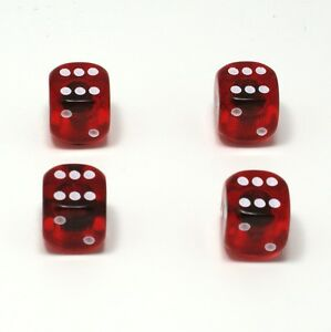 Set of  Four Red Translucent Dice Dust Caps X4 - 80's Retro Valve Caps - BMX VW