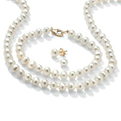 Genuine Cultured Pearl 14k Gold over .925 Silver 3-Pc. Set