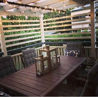 Timber 7 piece outdoor door setting - brown
