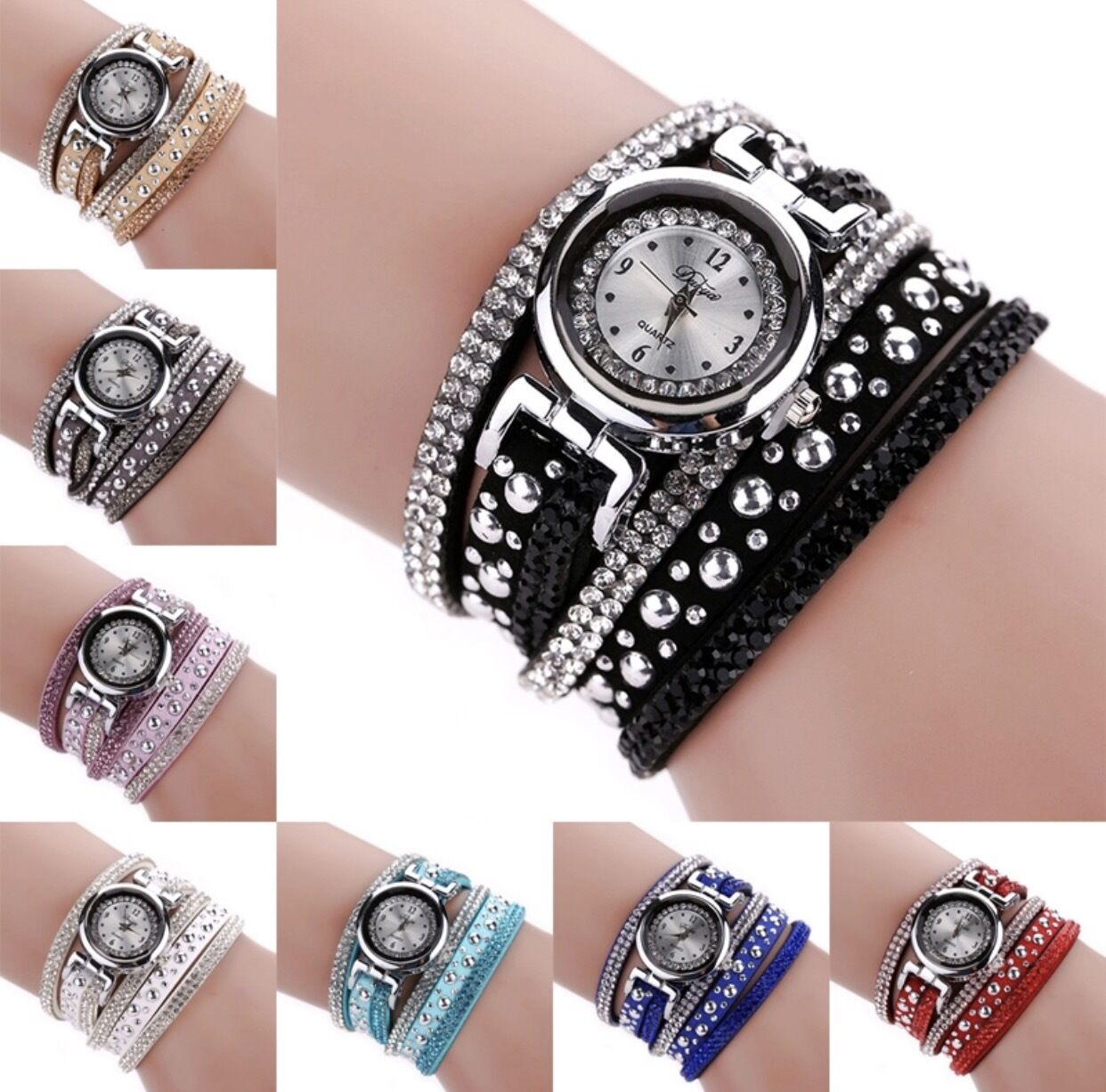 Armbanduhr Damenuhr Uhr Armband Wickelarmband silber Strass Glitzer Nieten edel