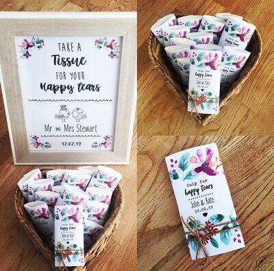 Happy Tears Wedding Tissues! Personalised Wedding Tissues! Wedding - Happy Tears