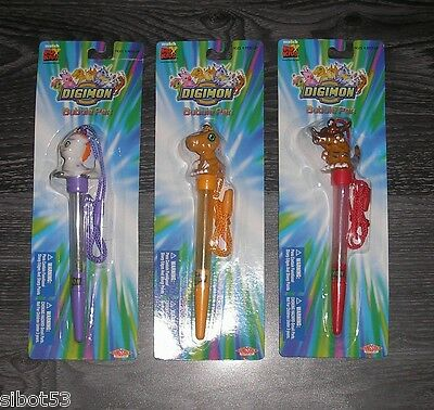 Digimon 3 verschiedene Bubble Pen Stifte OVP Agumon Greymon Gomamon Blasen