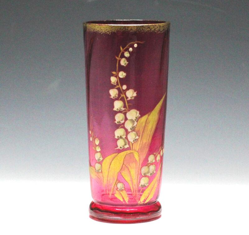 Moser Art Glass Vase c1900 Cranberry hand blown glass Hand painted enamel flower