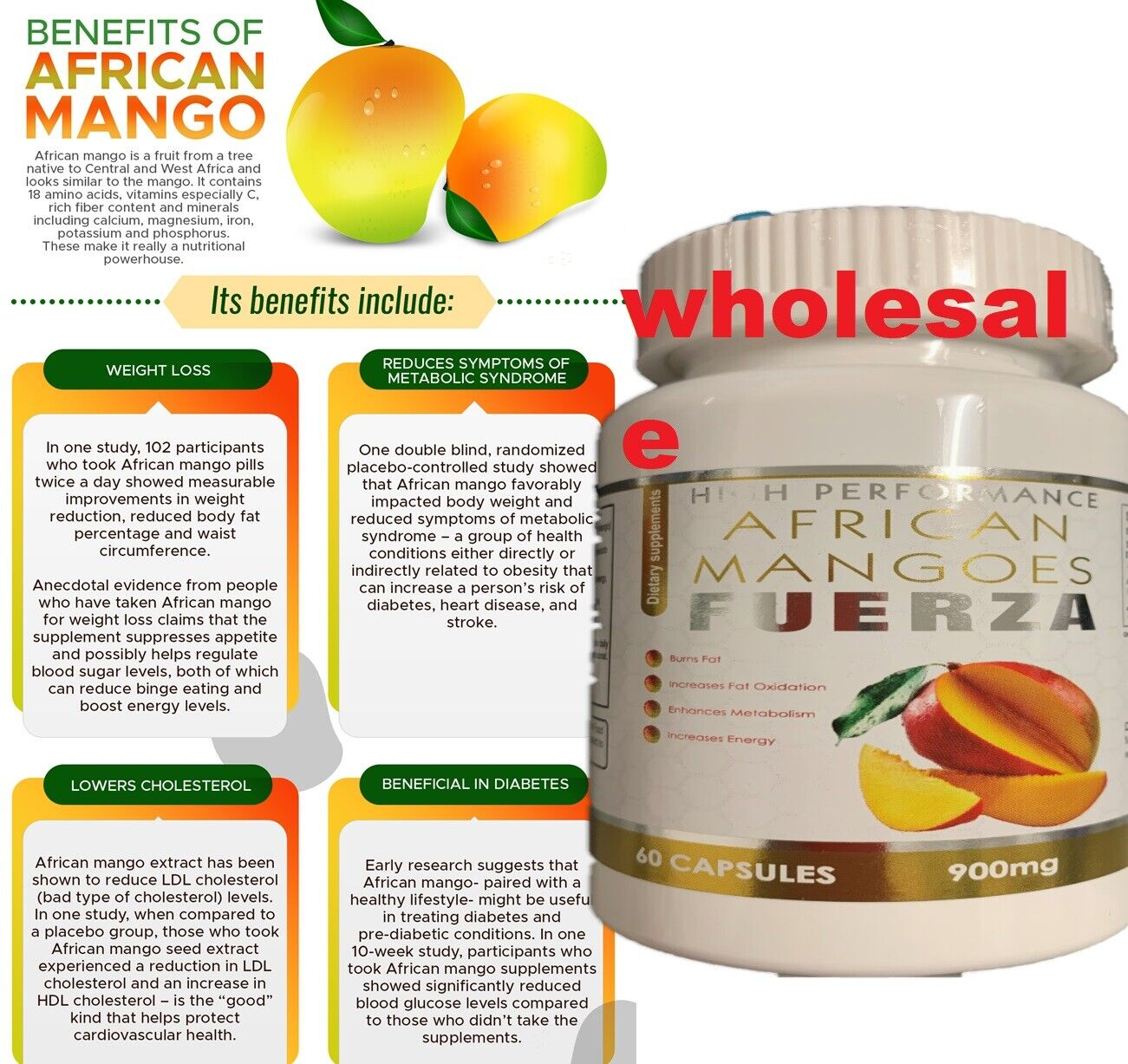 Extreme weight loss pills - PURE AFRICAN MANGO EXTRACT 900mg 1 Bottle 60 Caps 6