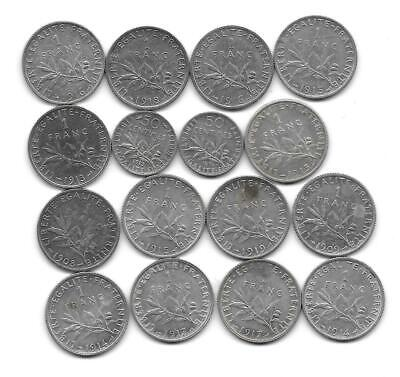 France:lot of 16 silver coins mixed condition