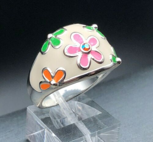 DaVinci Green Pink Orange Flower Rhinestone Silver Plated Dome Cocktail Ring 8.5