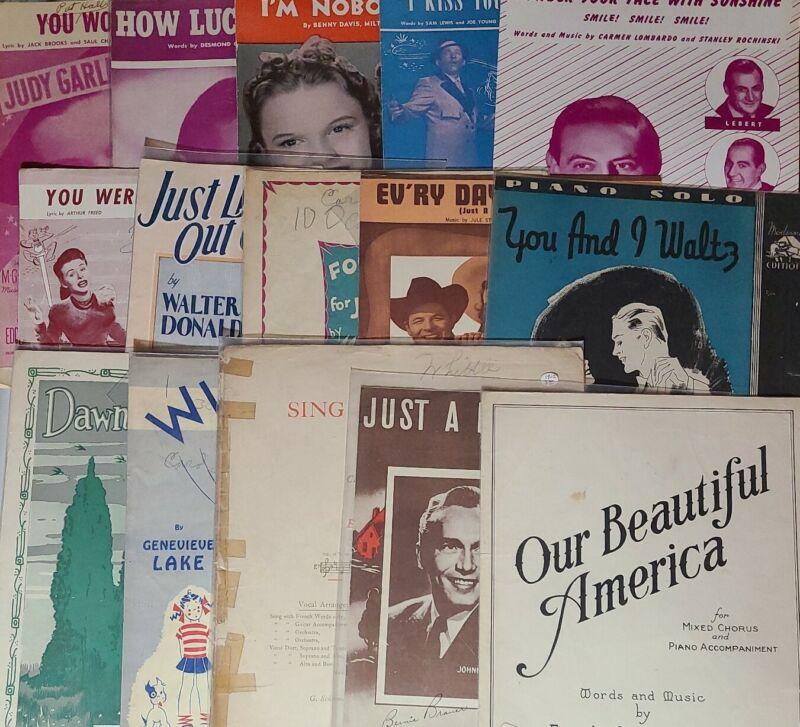 LOT OF 15 VINTAGE/ANTIQUE SHEET MUSIC 1902 -1948 UKELELE PIANO VIOLIN POOR-GOOD