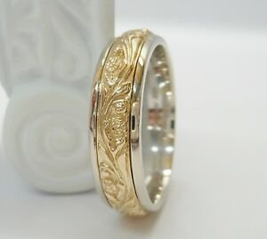 ... Men's 14k White  Yellow Gold Two Tone Artcarved Success Wedding Band