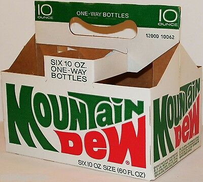 Vintage soda pop bottle carton MOUNTAIN DEW One Way Bottles unused new old stock