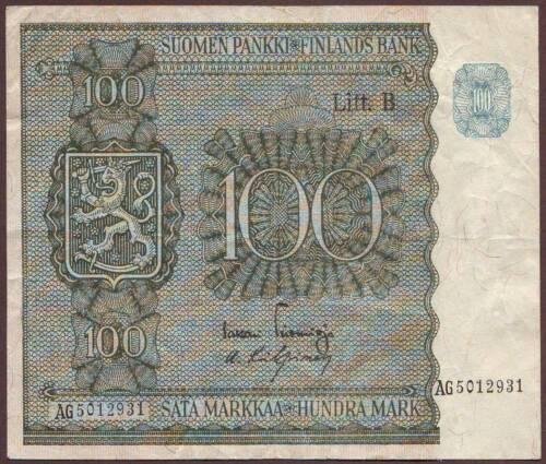 Finland  100 Markkaa  1945  Litt.B