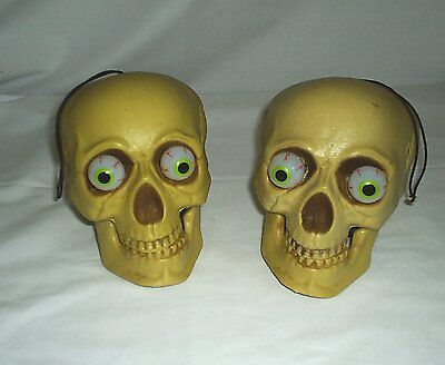 Halloween Decoration Skulls Lighted Eyes Lawn or Table Scary Gothic Lot Of 2