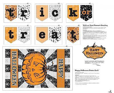 3 Yards Cotton Fabric - Patrick Lose Happy Halloween Poster & Bunting Panel](Halloween Bunting Panel)