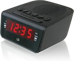 Digita Dual Alarm Clock AM/FM Radio with Ac power adapter &Red LED Large Display