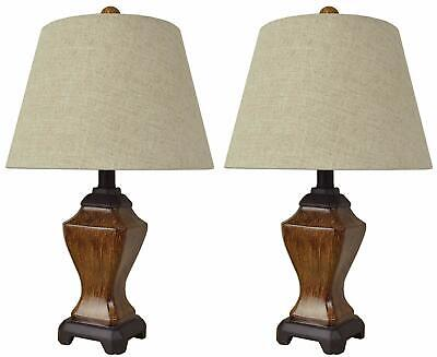 Mestar Natural Color Set of 2 Table Lamps with Handmade Linen Shades ()