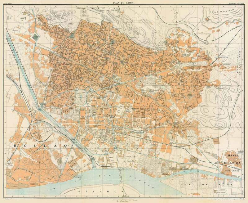 Cairo Historical City Map, 1906 (Guides Joanne,Hachette&Cie)Vintage Poster Print