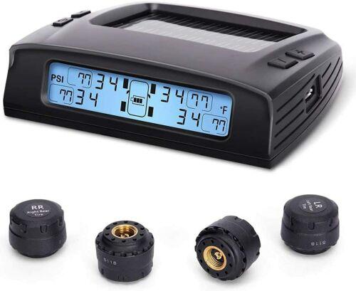 Tire Pressure Monitoring System Smart Modern Alarm Sensor LCD Solar Charge New