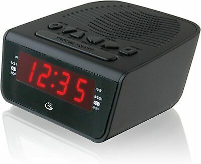 Digital Dual Alarm Clock AM/FM Radio with LED Display AC Power Battery Backup
