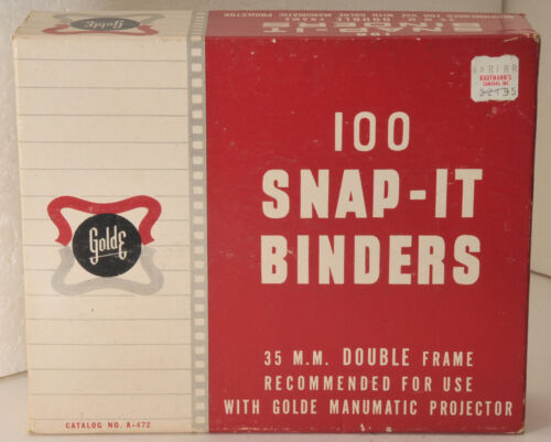 "box 100 GoldE 35mm Snap-It 2""x2"" Slide Binders w snap together aluminum & glass"