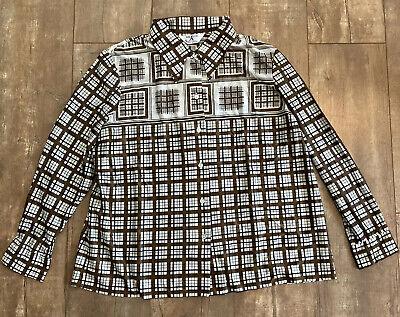 1970s Men's Shirt Styles – Vintage 70s Shirts for Guys Mr Alex Mens Sz XL Vintage 1970s Plaid Button Down Shirt Brown $15.00 AT vintagedancer.com