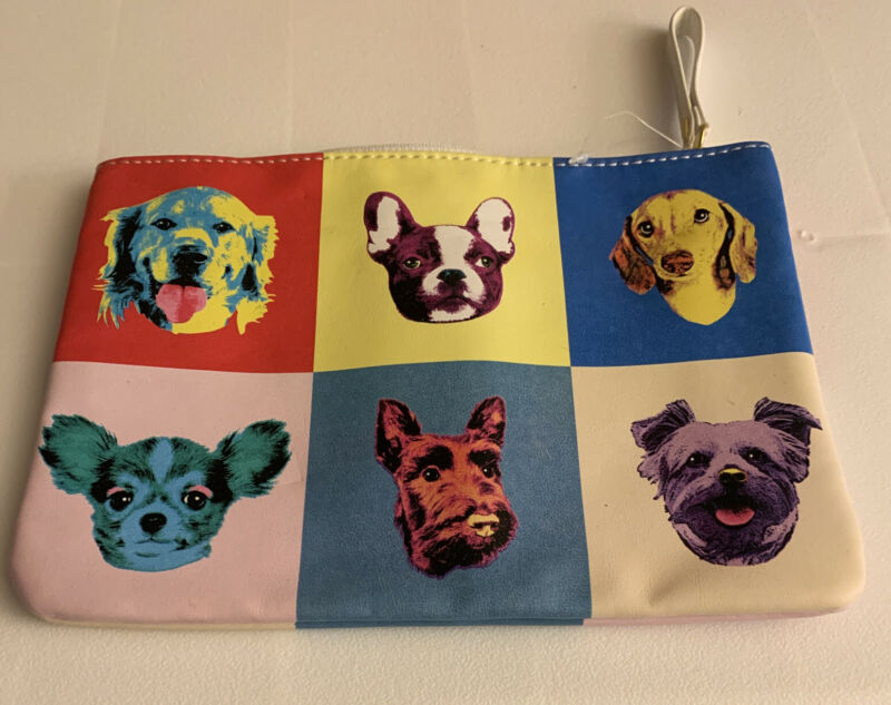 French Bulldog And Friends Accessory /Makeup Bag Leather Like HOLIDAY SALE PRICE