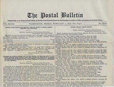 "Feb. 4, 1927 Copy of ""The Postal Bulletin"" by the U.S. Postal Service - Scarce!"