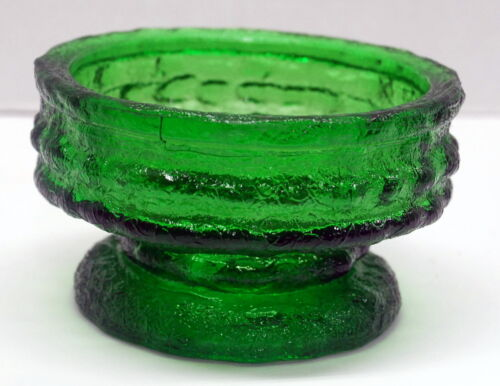 Vintage CandleHolder EO Brody Green Glass Footed Unique candle holder by EO Brod