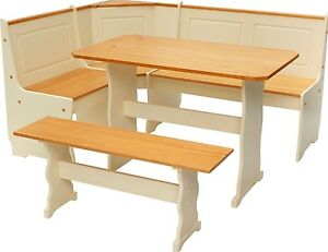 Kitchen Dinning Corner Set Seating Wooden Bench Table Breakfast Nook Wood Legs