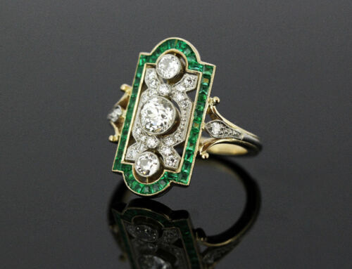 Antique Green Emerald & White Diamond Vintage Art Deco Engagement Ring In Silver