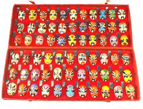Vintage BEIJING OPERA FACIAL MAKEUP FACES Art Miniatures In Box ASIAN Lot of 66